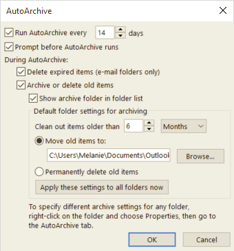 AutoArchive Options