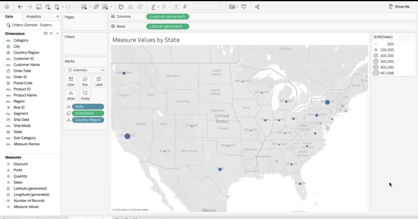 map visualization will appear in tableau